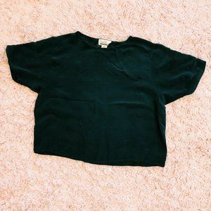 Vintage Tops - Vintage Sarah Williams Black 100% Silk T-Shirt